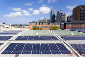 solar panels on roof of commercial building