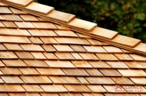 close up view of wood shingles on a roof